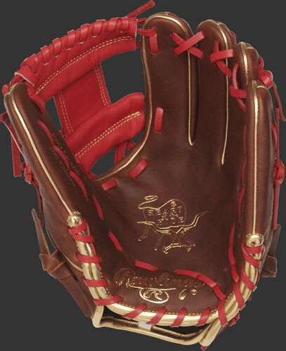 PRO204-2TIG Rawlings 11.5-inch infield glove with a timberglaze palm and scarlet laces