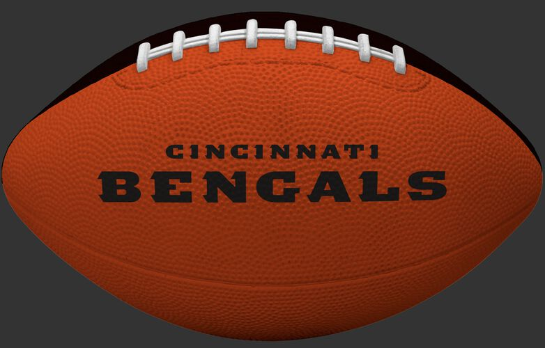 Orange side of a Cincinnati Bengals rubber Gridiron football with team name SKU #09501063121