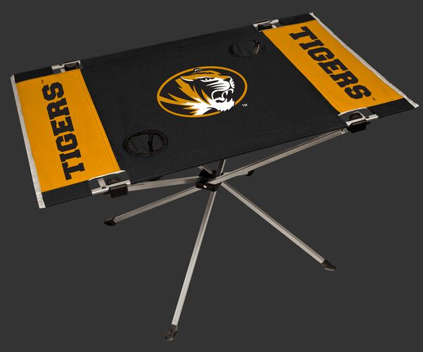 NCAA Missouri Tigers Endzone table featuring a large team logo with team colors and two cup holders SKU #04053086111