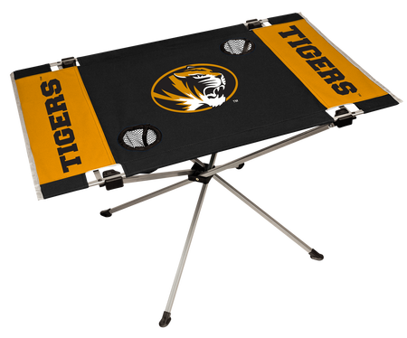 NCAA Missouri Tigers Endzone table featuring a large team logo with team colors and two cup holders