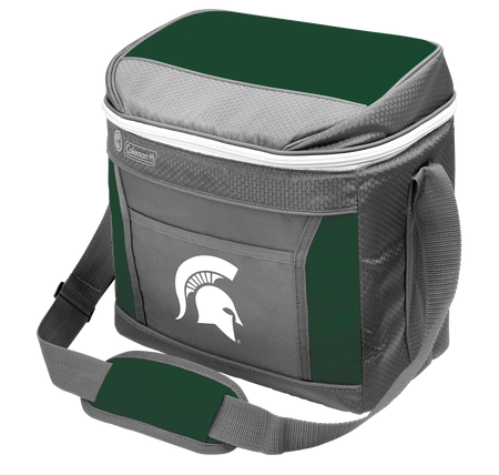A NCAA Michigan State Spartans 16 can cooler with the team logo printed on the front