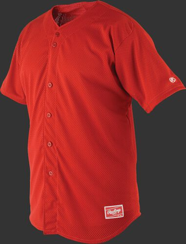 Front of Rawlings Scarlet Adult Short Sleeve Jersey  - SKU #RBJ167