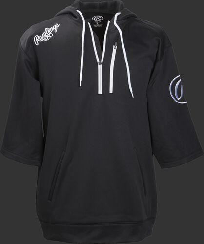 Front of Rawlings Black Adult Half Sleeve Hoodie with Zipper - SKU #RHTYO-DSW-88