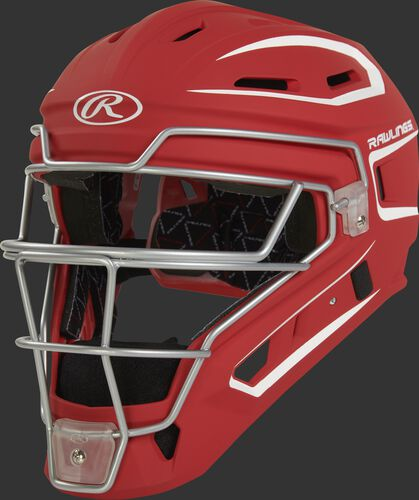 CHV27J scarlet Velo 2.0 youth catcher's helmet with white trim