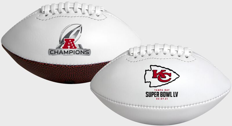 Two 2021 Kansas City Chiefs AFC Champions youth size footballs with the Chiefs logo on one side and AFC Champions logo on the other