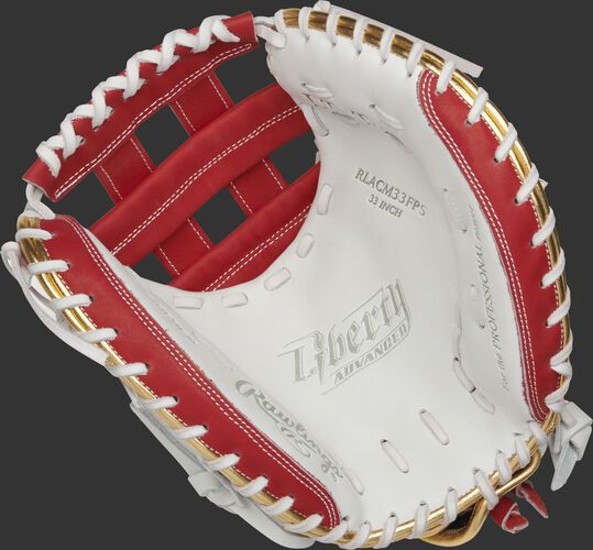 RLACM33FPS Rawlings Liberty Advanced Color Series catcher's mitt with a white palm, scarlet web and white laces