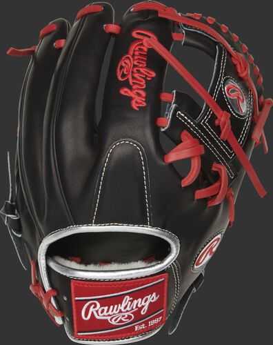 Black back of a 2021 11.75-Inch Pro Preferred I-web glove with a red Rawlings patch - SKU: PROSFL12B