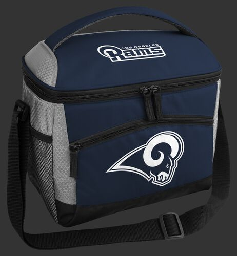 A blue Las Angeles Rams 12 can soft sided cooler with a team logo on the front - SKU: 10111073111
