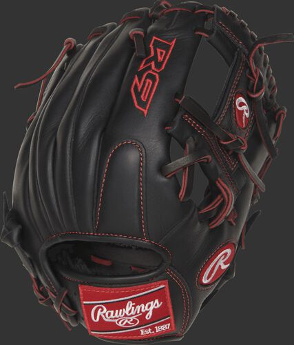 R9YPT2-2B 11.25-inch R9 Series infield glove with a black back and designed with a youth pro taper fit