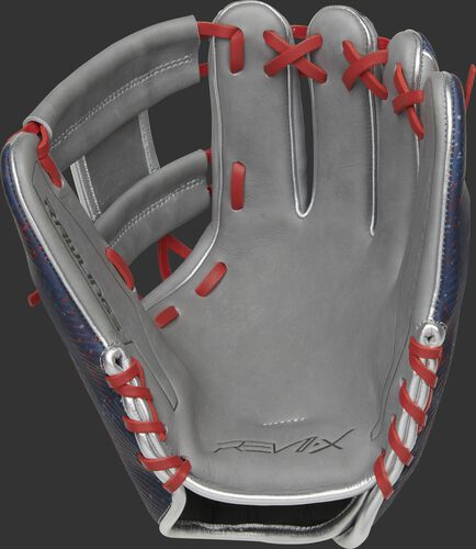 Gray palm of a Rawlings REV1X 11.5-Inch infield glove with scarlet laces - SKU: REV204-2X