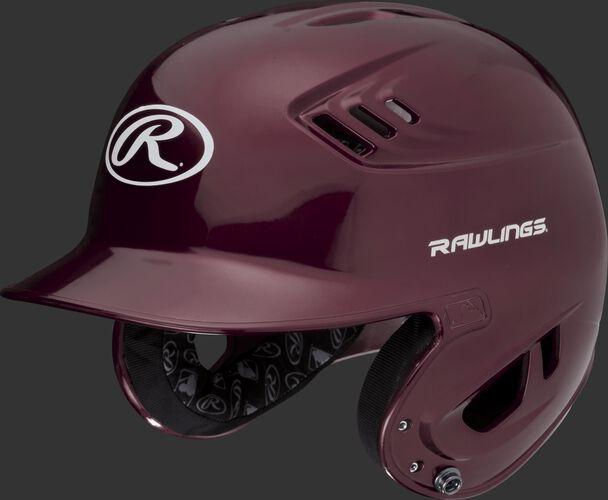 A metallic maroon R16S Velo senior batting helmet with Cool-Flo vents