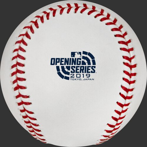 ROMLBOS19 2019 Official Ball of the MLB Japan Opening series with the event logo printed on the ball