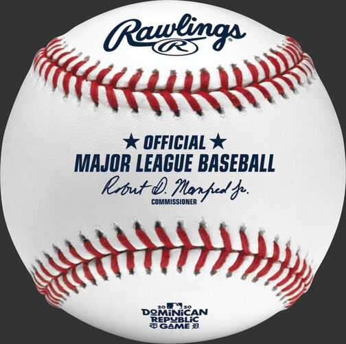 An official 2020 MLB Dominican Republic Series baseball with the Official MLB baseball stamp - SKU: ROMLBDRS20