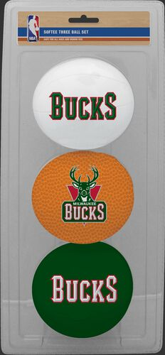 Rawlings White, Brown, and Green NBA Milwaukee Bucks Three-Point Softee Basketball Set With Team Logo SKU #03524202114