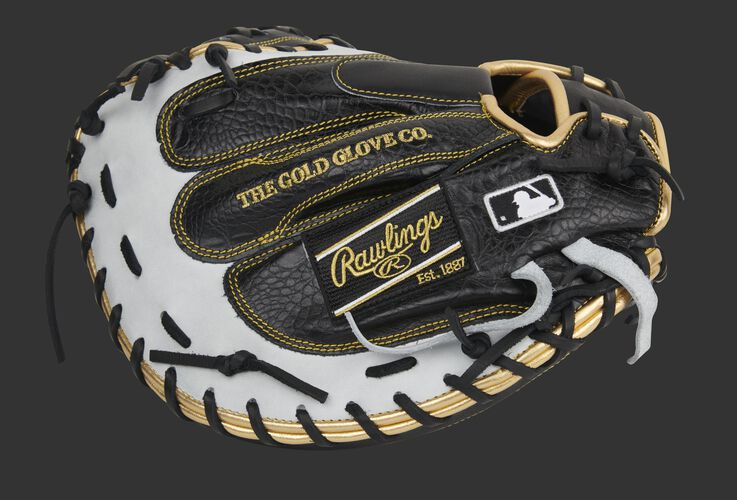 Black croc back of a Heart of the Hide catcher's mitt with a black Rawlings patch and MLB logo - SKU: PROCM41BW