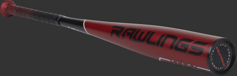 A red US9510 USA -10 Rawlings 5150 bat with black accents and black end cap