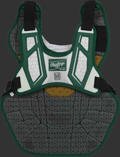 Back harness of a dark green/white CPV2N adult Velo 2.0 chest protector with Dynamic Fit System 2.0