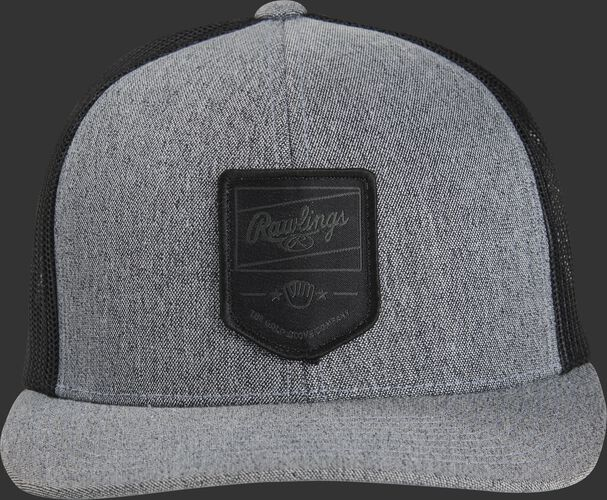 Front of a gray/black Rawlings snapback hat