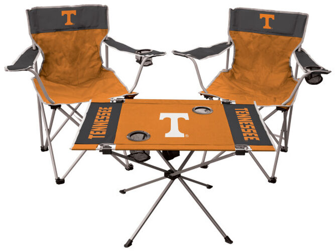 Front of Rawlings Orange and Grey NCAA Tennessee Volunteers 3-Piece Tailgate Kit With Two Kickoff Chairs, An Endzone Table, And A Transport Bag With Team Logo SKU #00993101511