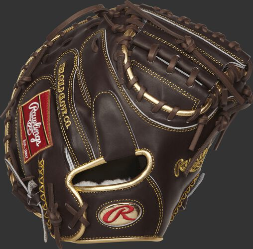 RGGCM43MO Gold Glove Series 34-inch catcher's mitt with a mocha back, gold binding and gold oval R logo