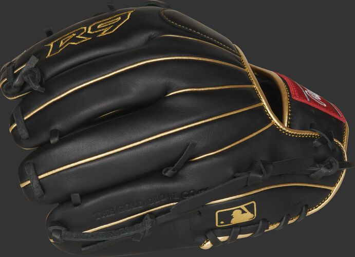 Black finger backs of a R9 series infield glove with gold welting and MLB logo on the pinkie - SKU: R9204-2BG