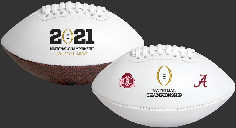 Two 2021 College Football National Championship dueling footballs with the CFP logo on one side and Alabama and Ohio State logos on the other
