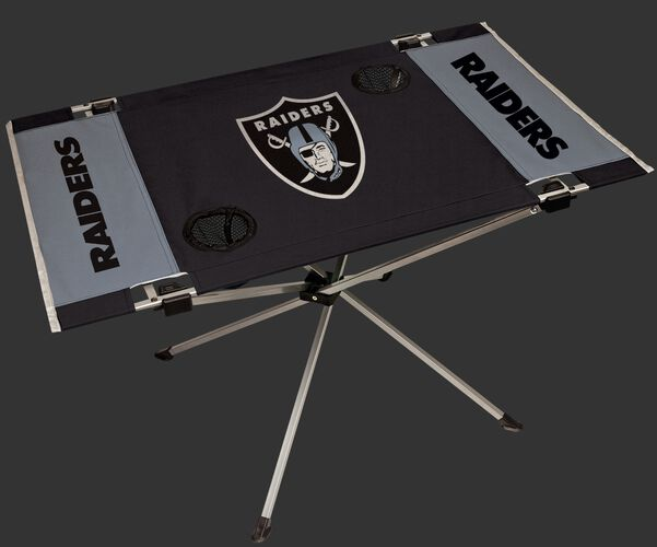 Rawlings Grey and Black NFL Oakland Raiders Endzone Table With Two Cup Holders, Team Logo, and Team Name SKU #03391072111