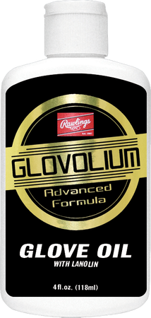 A bottle of Glovolium Glove Oil advanced formula for glove maintenance