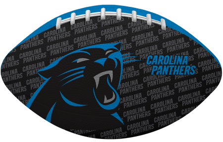 Black side of a NFL Carolina Panthers Gridiron football with the team logo