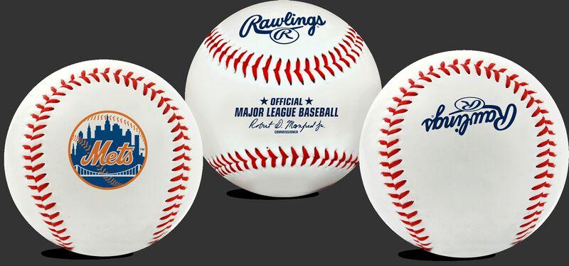 3 views of a MLB New York Mets baseball