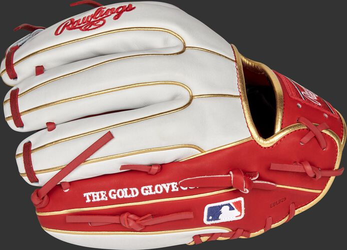 White/scarlet back of a St. Louis Cardinals Heart of the Hide infield glove with the MLB logo on the pinky - SKU: RSGPRO314-2STL