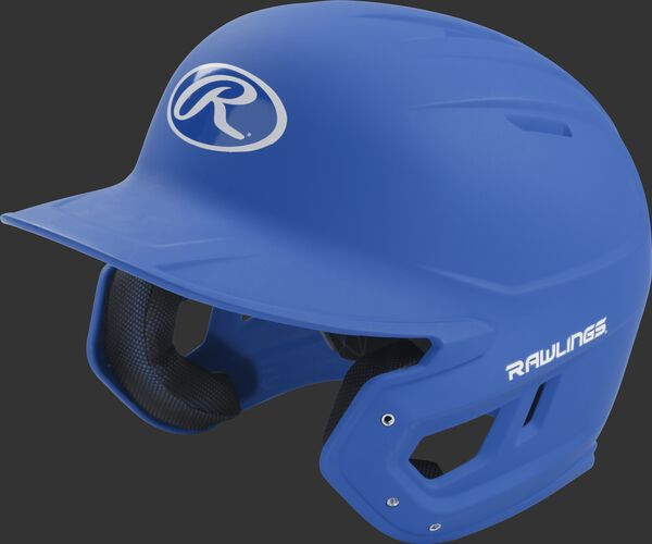 Left angle view of a Rawlings MACH Junior helmet with a one-tone matte royal shell