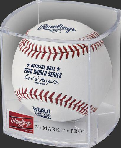 A 2020 MLB World Series baseball in a clear display cube - SKU: EA-WSBB20-R