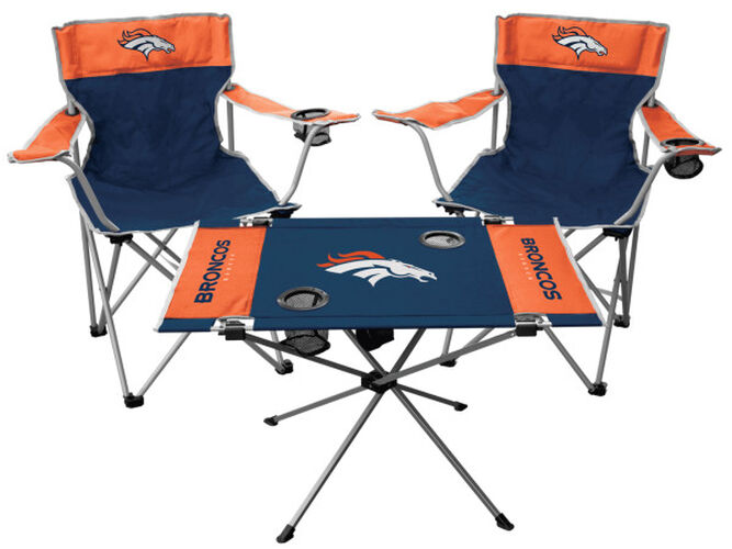 Front of Rawlings Navy and Orange NFL Denver Broncos 3-Piece Tailgate Kit With Two Kickoff Chairs, An Endzone Table, And A Transport Bag With Team Logo SKU #01041066511