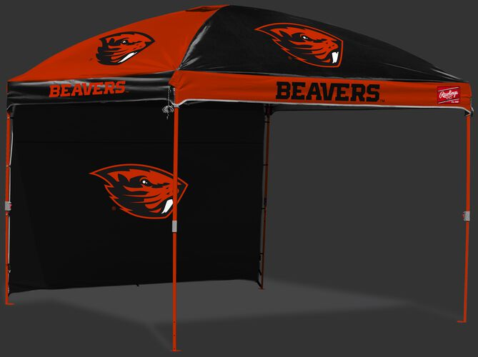 A black/orange Oregon State Beavers 10x10 deluxe dome tent with team logos and a removable wall on the back -SKU: 09463048519
