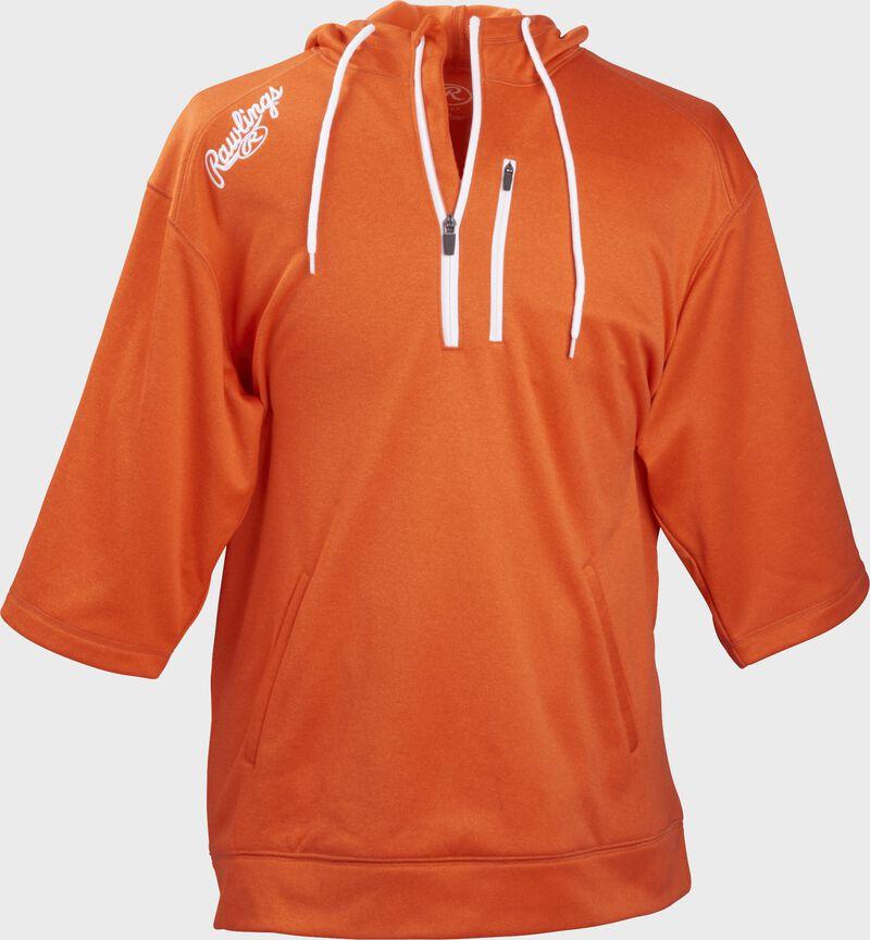 Front of Rawlings Bright Orange Adult Half Sleeve Hoodie with Zipper - SKU #RHTYO-DSW-88