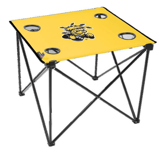 Rawlings Yellow NCAA Wichita State Shockers Deluxe Tailgate Table With Four Cup Holders and Team Logo Printed In The Middle SKU #00713220111