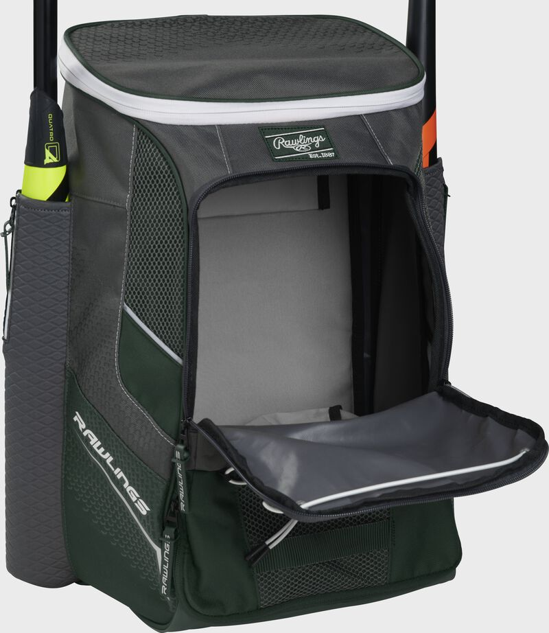 Front of a dark green Rawlings Impulse backpack with the main compartment open - SKU: IMPLSE-DG