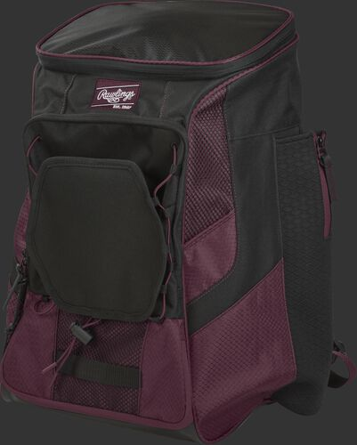 Front left of a maroon/black R600 Rawlings backpack without bats