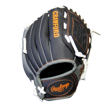 Back of a black MLBPA 9-inch Brandon Crawford player glove
