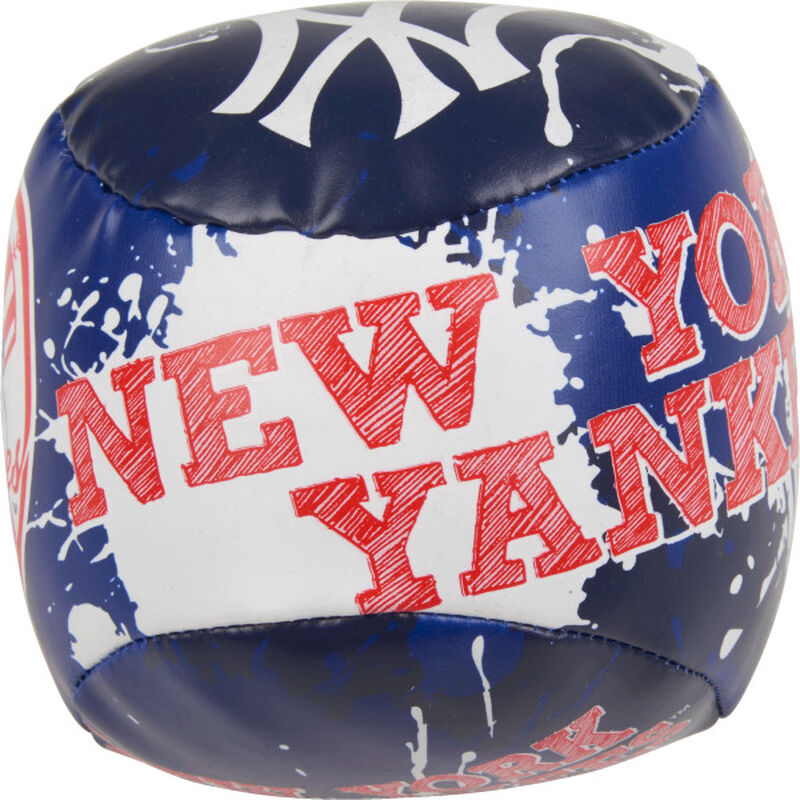 Top of Rawlings New York Yankees Quick Toss 4'' Softee Baseball With Team Name On Front In Team Colors SKU #01320030112