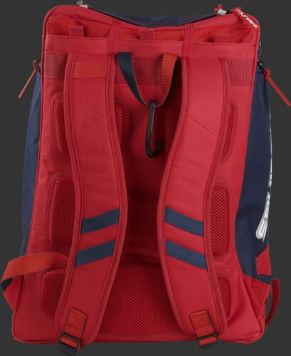 Back of a USA Rawlings Legion backpack with red shoulder straps - SKU: LEGION-USA