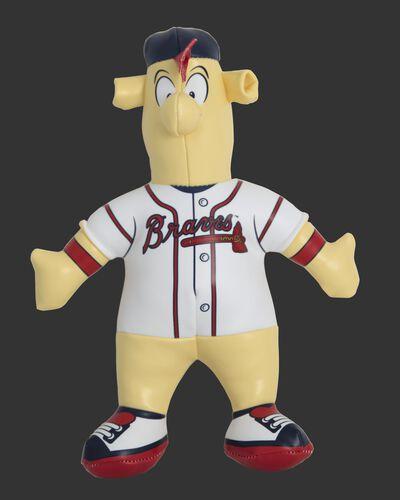 Front of Rawlings MLB Atlanta Braves Mascot Softee With White Team Jersey and Navy Backwards Hat SKU #03770005111
