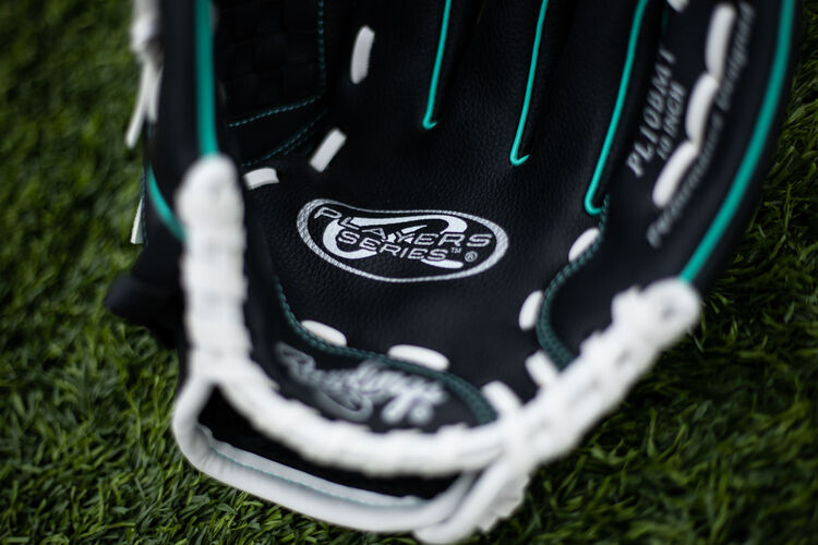 Players Series logo on a 10-inch Player glove lying on a field - SKU: PL10BMT