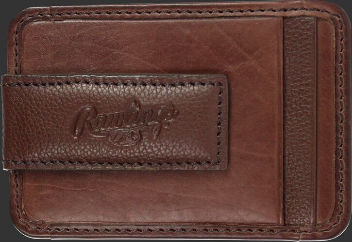 The money clip on a brown Rawlings Bases Loaded magnetic money clip - SKU: RW80002-200