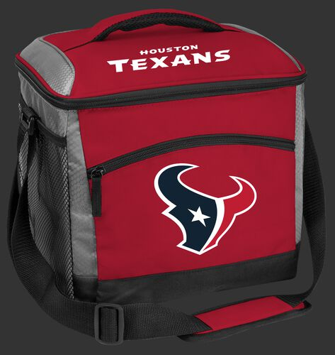 A red Houston Texans 24 can soft sided cooler with screen printed logos - SKU: 10211093111