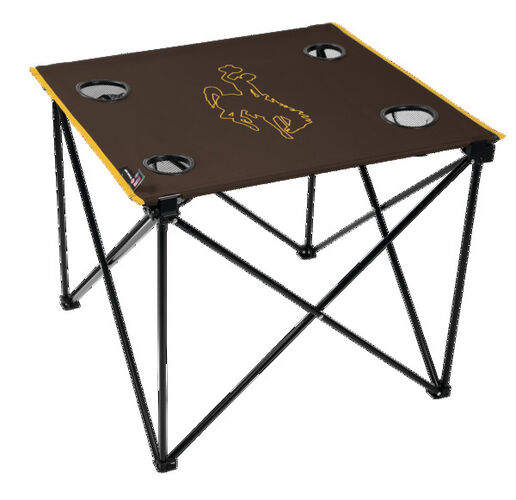 Rawlings Brown NCAA Wyoming Cowboys Deluxe Tailgate Table With Four Cup Holders and Team Logo Printed In The Middle SKU #00714298111