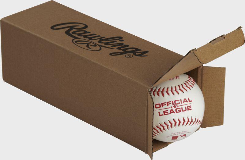 Official League Playmaker baseballs inside a Rawlings box - SKU: PMBBPK3