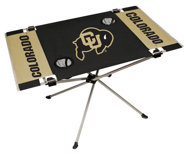 Rawlings Black and Gold NCAA Colorado Buffaloes Endzone Table With Two Cup Holders, Team Logo, and Team Name SKU #04053071111