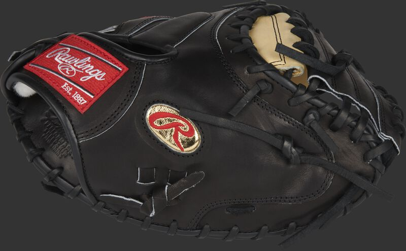 Thumb of a black Gameday 57 Series J.T. Realmuto Pro Preferred catcher's mitt with a gold Oval-R - SKU: PROSCM43JR10